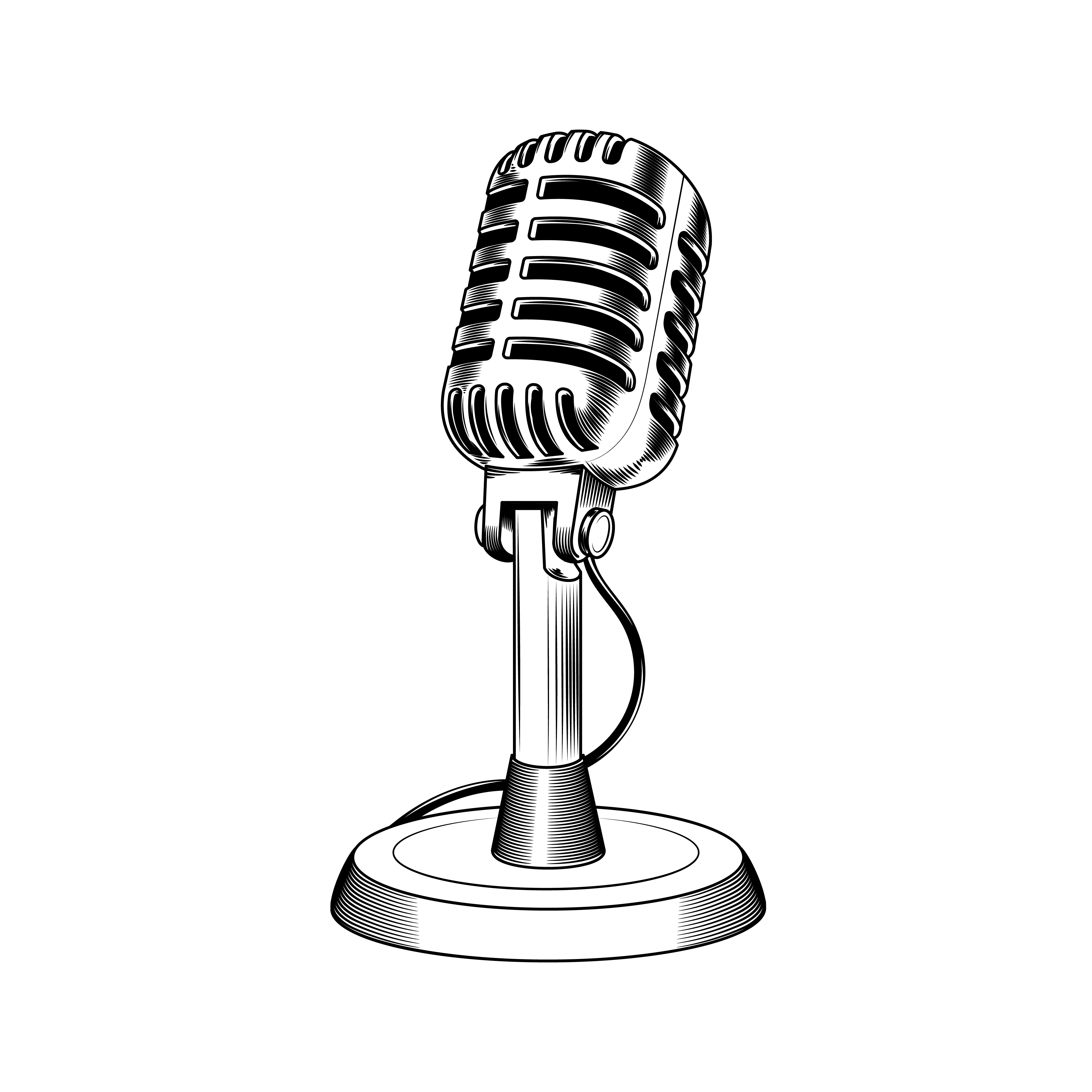 Old microphone made in engraving style Vector - Download ...