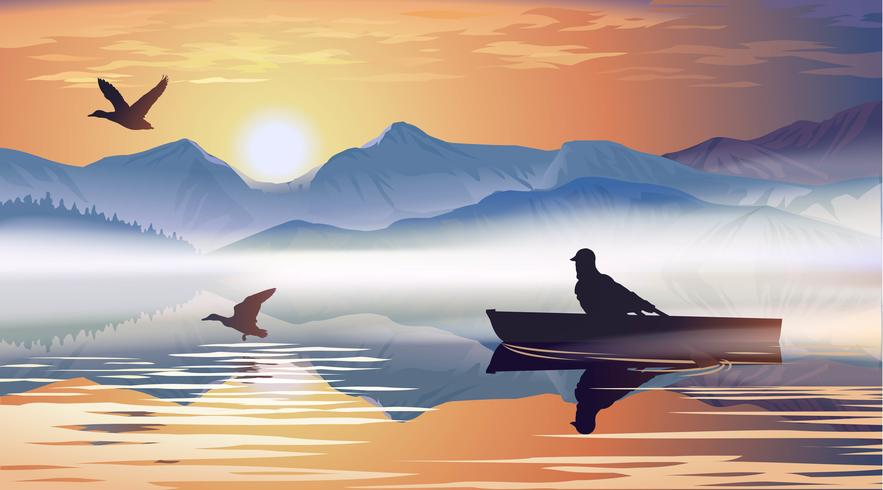Homem flutuando em um barco no lago