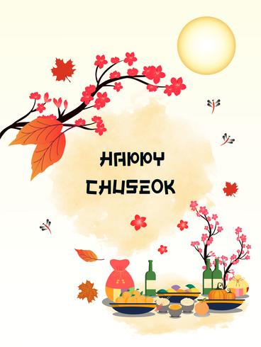 Bannière Chuseok design.persimmon sur fond de vue de pleine lune.
