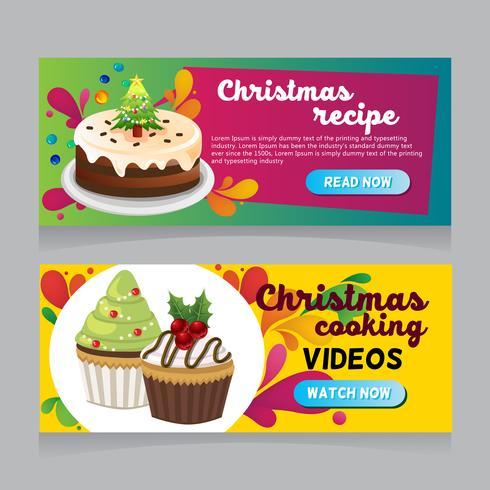 banner de web de comida de navidad