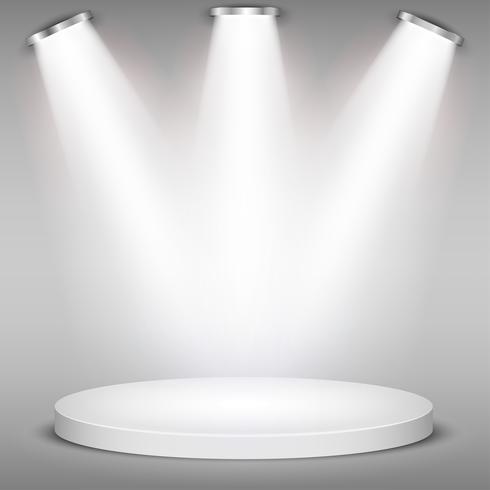 Podio redondo blanco del ganador en fondo gris. Escenario con luces de estudio para entrega de premios. Los focos se iluminan. Ilustracion vectorial
