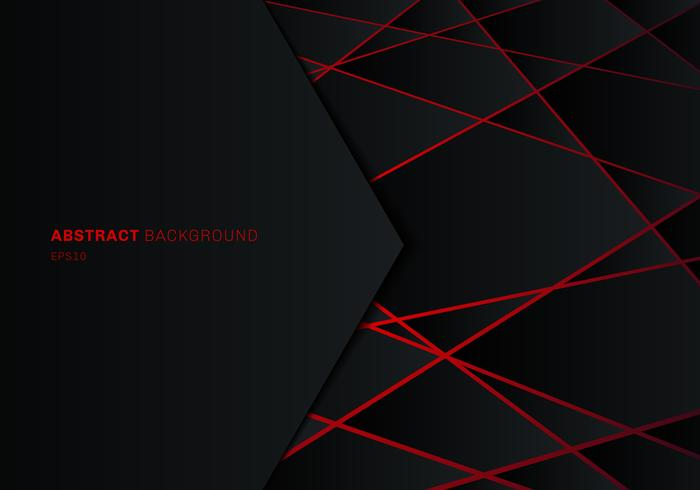 Abstract Template Black Geometric Polygon On Red Laser Light
