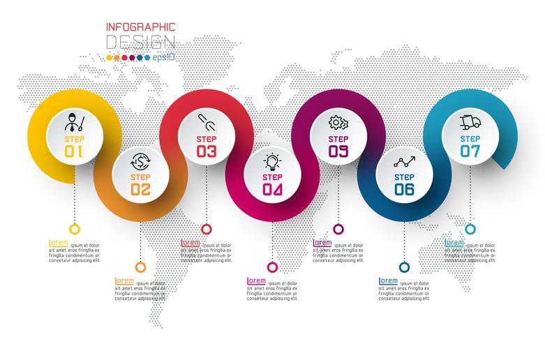 Círculo etiqueta infografía con paso a paso.