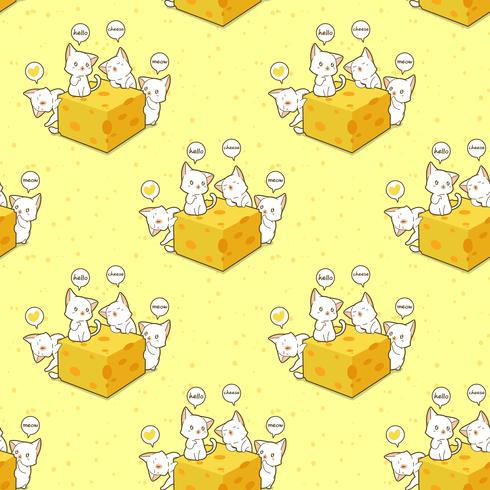 Sömlösa kawaii-katter och ostmönster