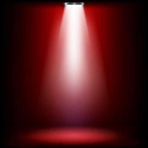 Luces de estudio para entrega de premios con luz roja. Los focos iluminan brilla en el escenario. Ilustracion vectorial