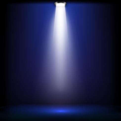 Luces de estudio para entrega de premios con luz azul. Los focos iluminan brilla en el escenario. Ilustracion vectorial