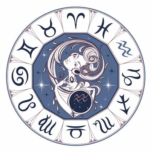 Signo del zodiaco Acuario una hermosa niña. Horóscopo. Astrología. Vector