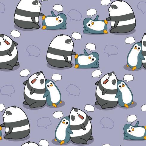 O panda e o pinguim sem emenda estão falando o teste padrão. vetor