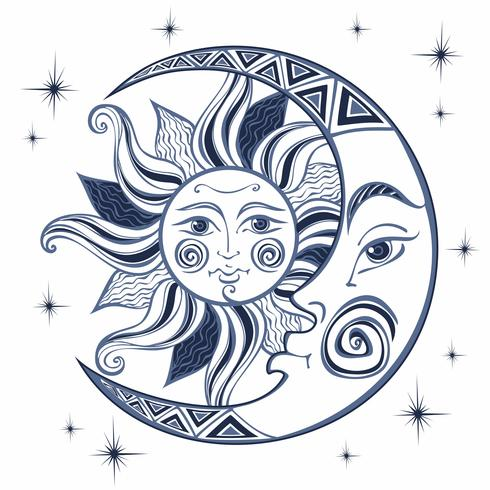 The moon and the sun  Ancient astrological symbol  Engraving