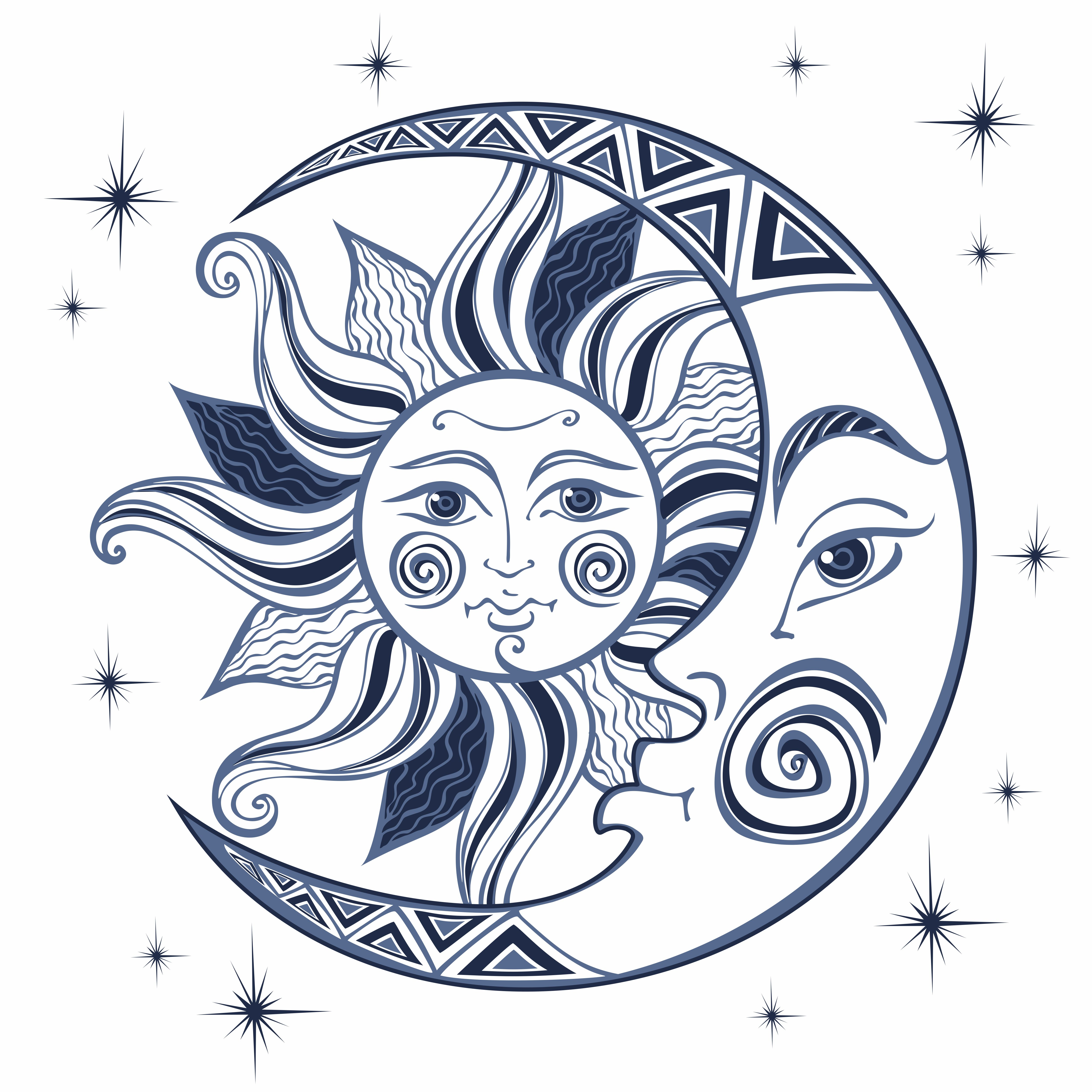 The moon and the sun. Ancient astrological symbol ...