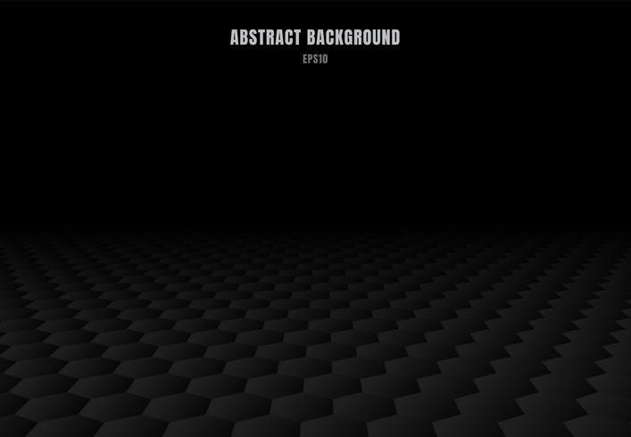Esagoni neri astratti modellano il fondo e la struttura di prospettiva con lo spazio della copia. Stile di lusso