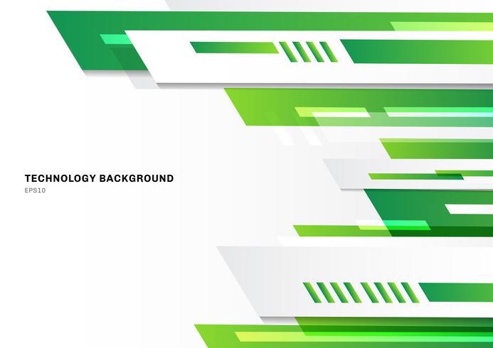 Progettazione astratta geometrica verde di stile astratto di tecnologia su fondo bianco con spazio per testo. Modello di progettazione brochure della moderna tecnologia aziendale.