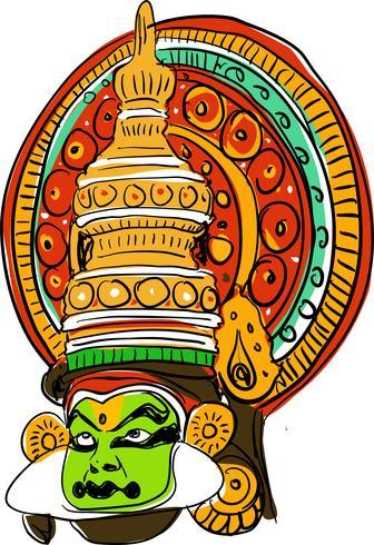 Kathakali ilustración vectorial