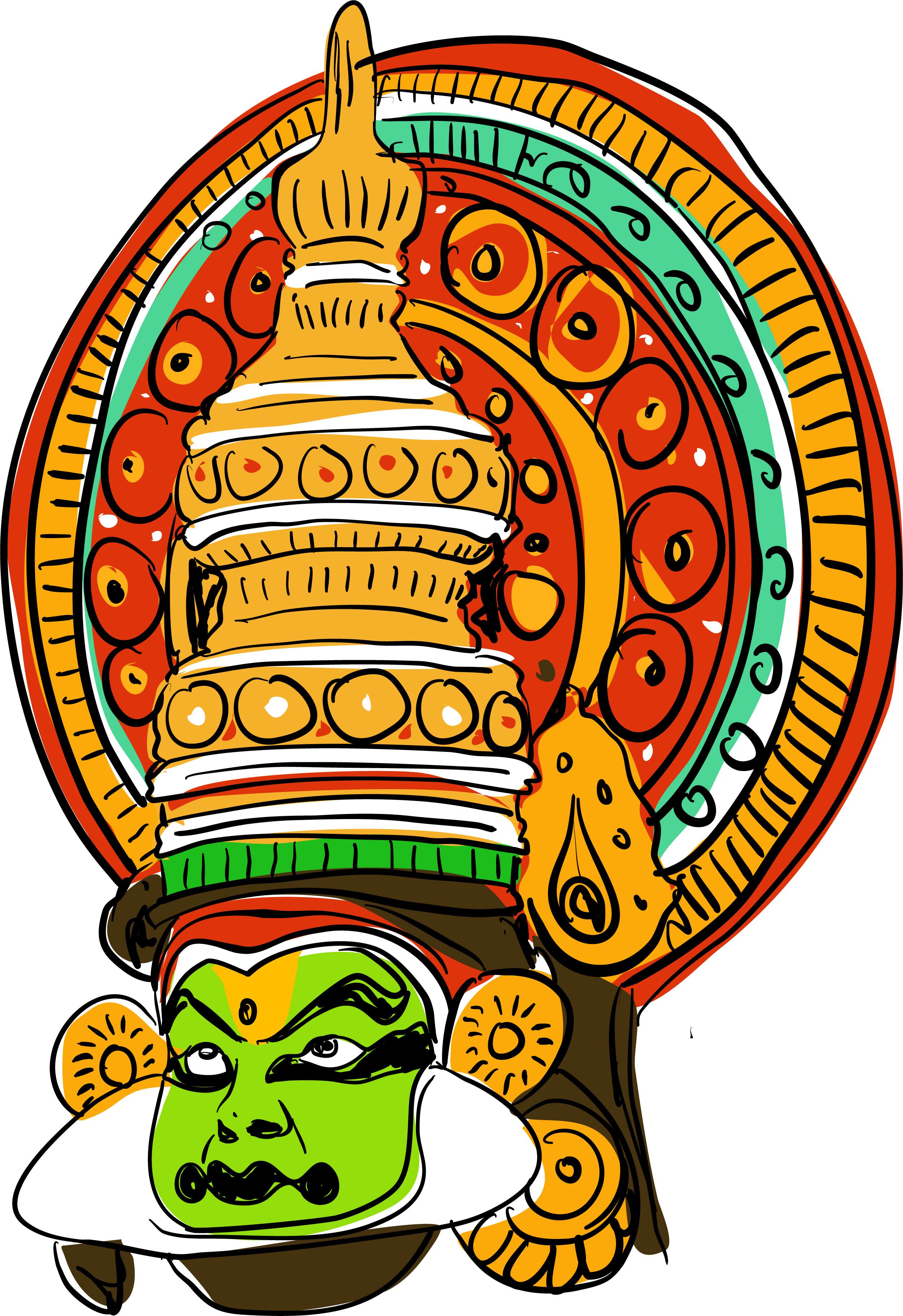 kathakali vector illustration indian dance clipart traditional dancing vecteezy
