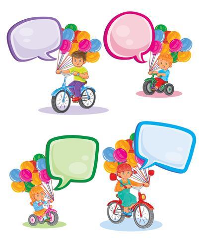 Stellen Sie kleine Kinder der Ikonen auf Fahrrädern ein