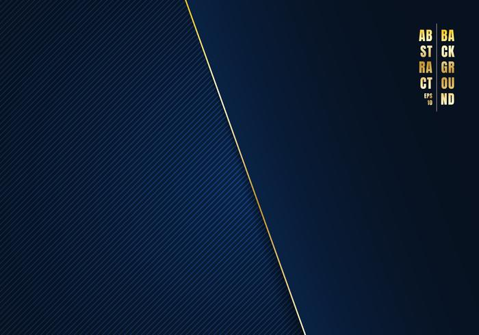 Abstract template diagonal lines striped dark blue gradient background and texture with golden line and space for your text. Luxury style. You can use for your business.