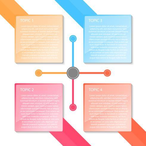 Colorido cuatro etiquetas infografía transparencia. vector