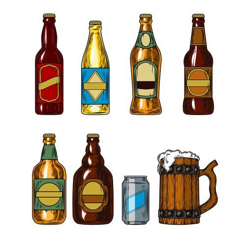 Set icons of beer bottles and mug