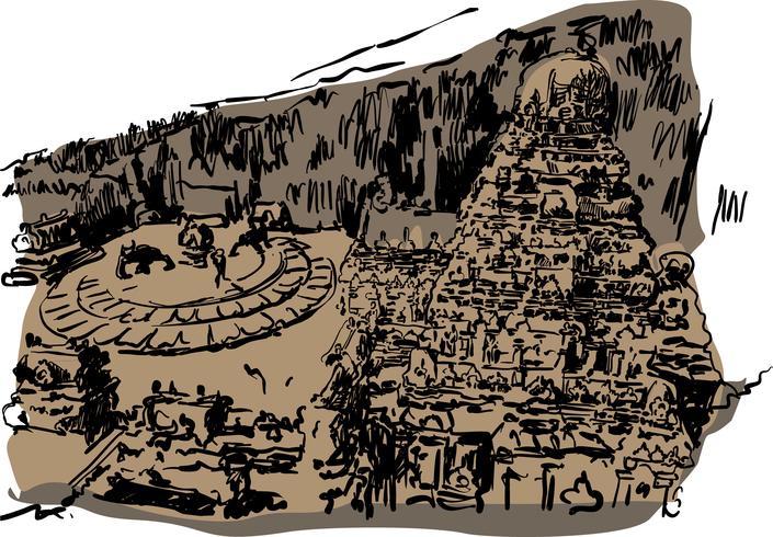 Ilustración de vector de templo de Ellora
