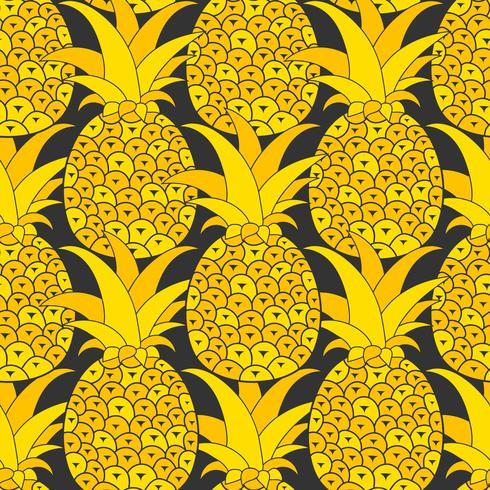 Ananas sömlösa mönster. Tropisk bakgrund. Vektor illustration. Klar för din design, hälsningskort