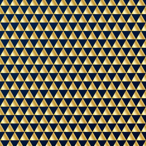 Geometric gold triangles luxury seamless pattern on dark blue background. Gold and blue colors design elements for elegant festive projects and awards. vector