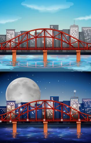 Vista de la ciudad con puente en día y noche. vector