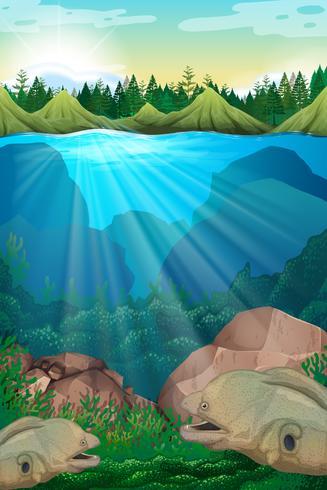 Monstruo marino nadando bajo el agua vector