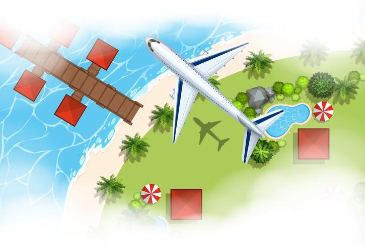 Scena aerea dell'aeroplano che sorvola terra