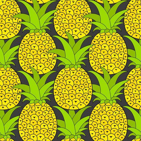 Modello senza cuciture di ananas. Sfondo tropicale Illustrazione vettoriale. Pronto per il vostro disegno, cartolina d'auguri