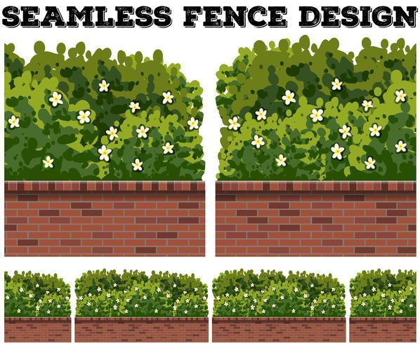 Seamless staketdesign med busk och blommor