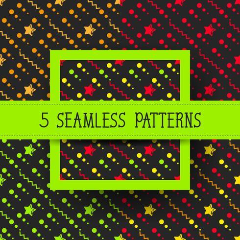 Star Set Seamless Pattern, Hand Drawn Sketched Doodle Stars, Vector Illustration Klar för din design, hälsningskort