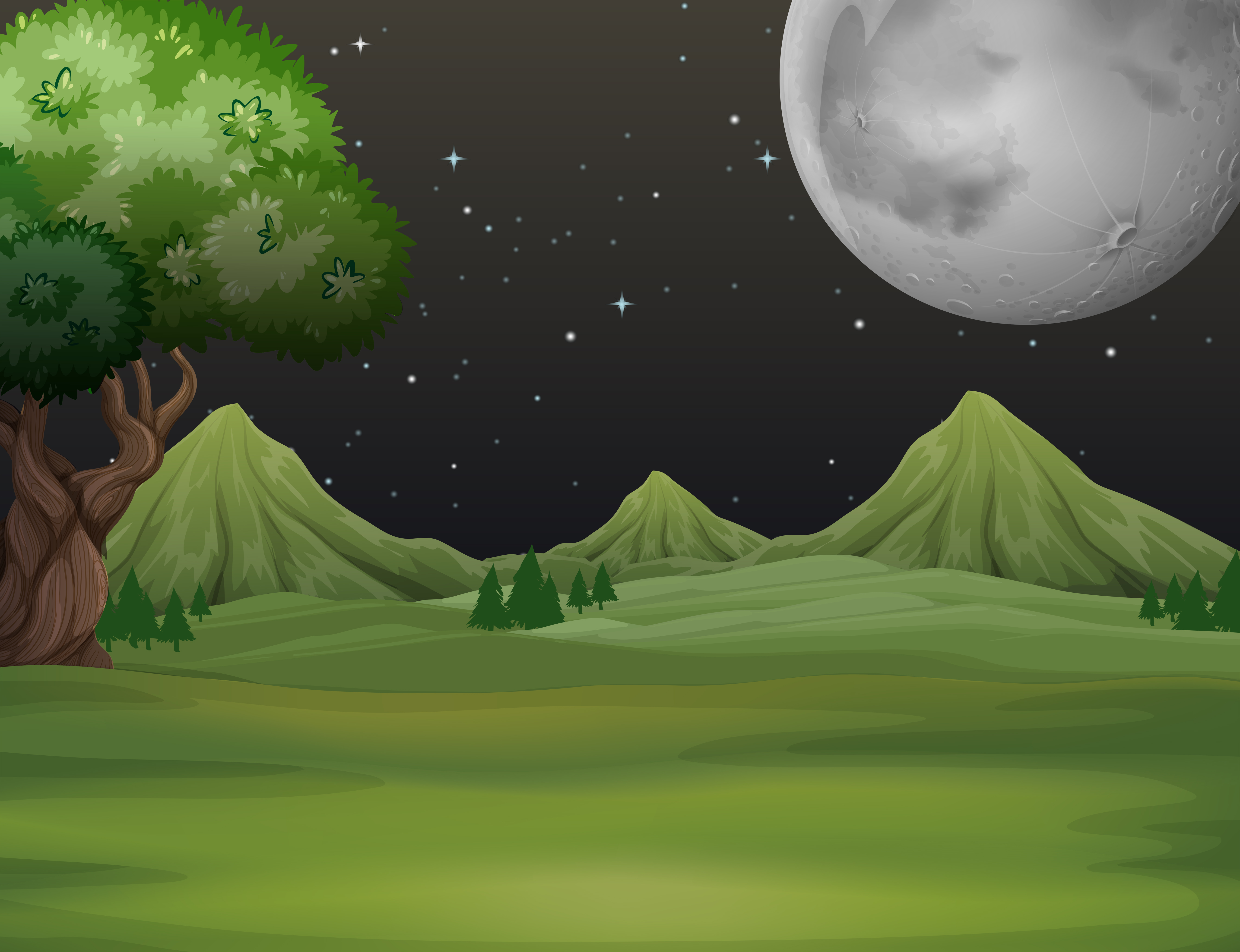 Green Field At Night Time Download Free Vectors Clipart