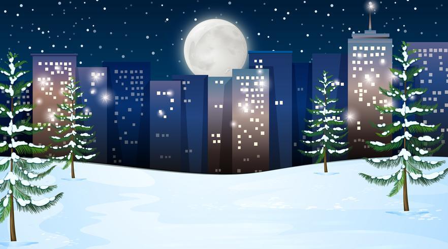 Una escena de invierno al aire libre.