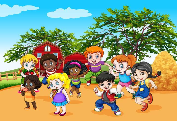 Niños bailando en la granja. vector