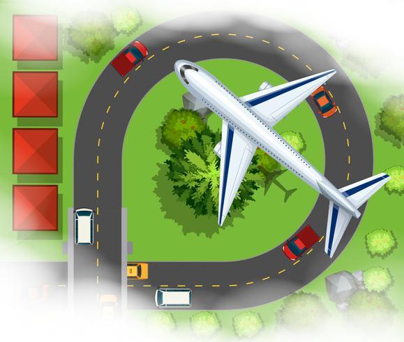 Luchtscece met vliegtuig dat in de hemel vliegt
