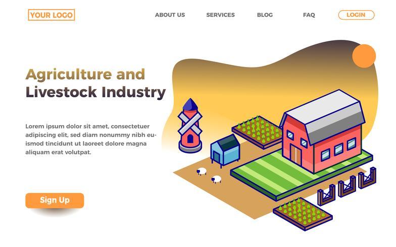Modello di pagina di destinazione per agricoltura e allevamento