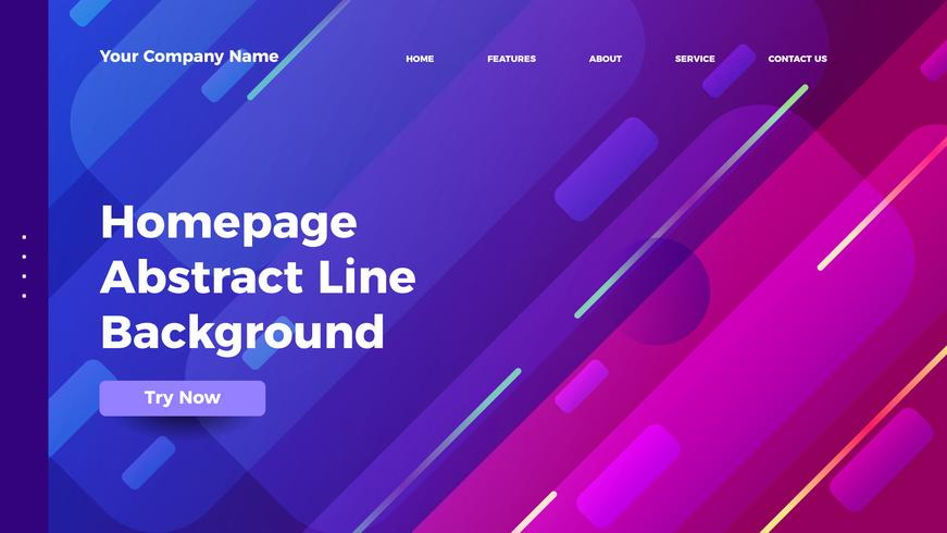 homepage abstract line background. Gradient landing page template
