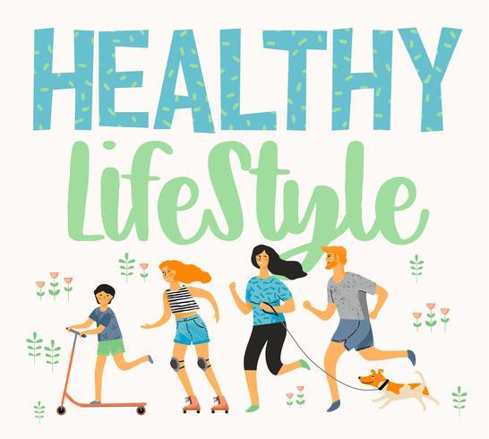 Vector tempal con personas que llevan un estilo de vida activo y saludable.