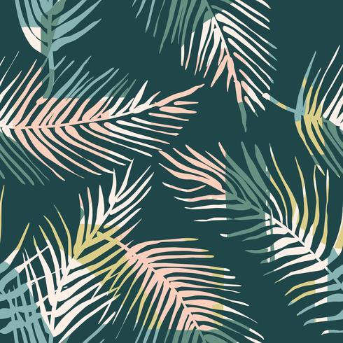 Modelo inconsútil creativo abstracto con las plantas tropicales y el fondo artístico.