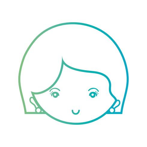 lijn avatar vrouw hoofd met kapsel ontwerp