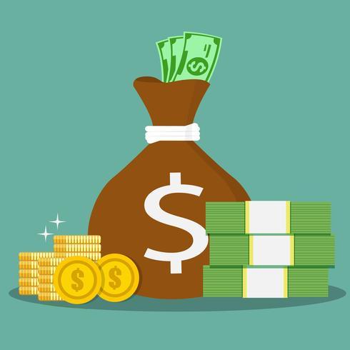 Sacs d'argent et pièces de monnaie. Illustration vectorielle.