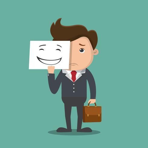 Affärsman som håller ledsen mask.Concept affärs illustration. Vektor.