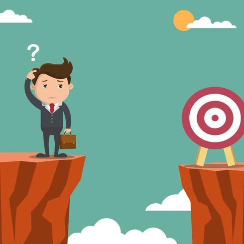 Hombre de negocios confundido buscando objetivos situados en un acantilado. Ilustración de vector. vector
