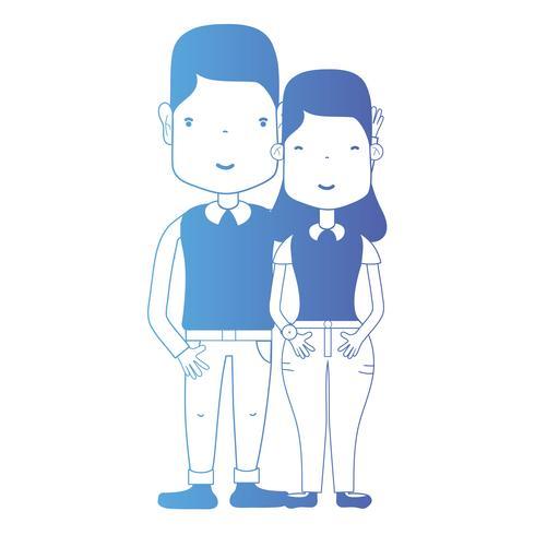 Línea de pareja junto con peinado y ropa. vector