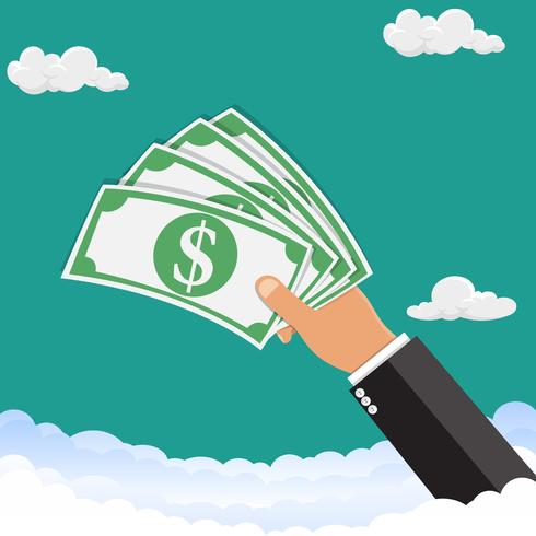 Hand holding money.The hand is holding money in the sky. Vector illustration.