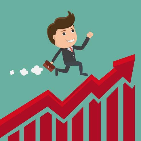 Homme d'affaires en cours d'exécution sur le graphique en flèche rouge. Illustration de l'entreprise concept. Vecteur.