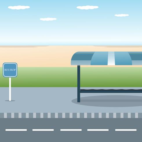 Bus stop design in with view sea beach flat vector illustration background
