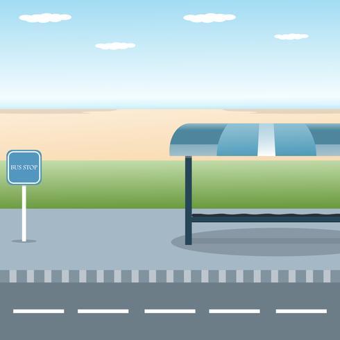 Projeto de parada de ônibus com vista mar praia plana vector ilustração de fundo