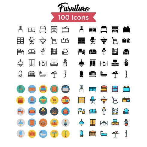 vector de conjunto de iconos de muebles