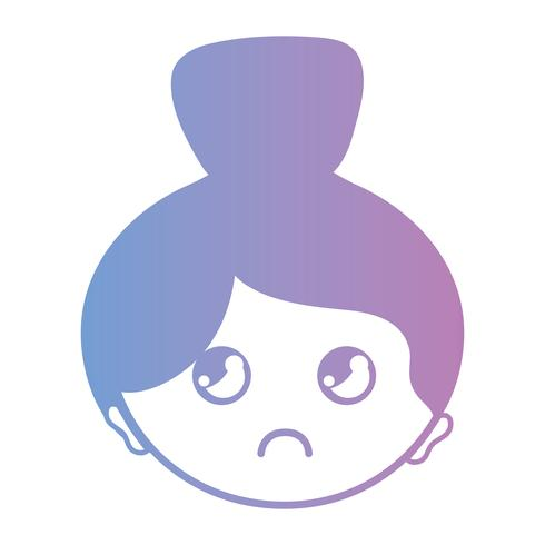 linha avatar mulher cabeça com design de penteado